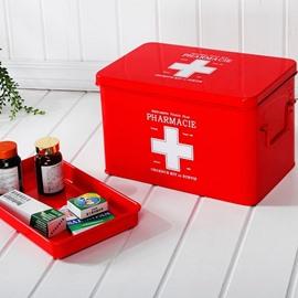 Metal Material Red Medicine Box Storage Organizer