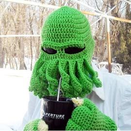 Knit Octopus Beard Hat Winter Warm Windproof Funny for Men & Women