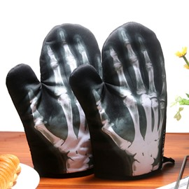 X-Ray and Skull Pattern Black Kitchen Oven Heat Insulation A Pair of Gloves