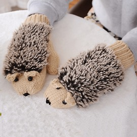 Women's Cartoon Hedgehog Winter Cotton Gloves Girls' Thick Mittens