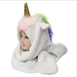 Hat with Scarf and Hand Pockets Unicorn Shape Fashion Design