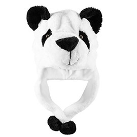 Panda Bear Plush Animal Winter Ski Hat Aviator Style Winter