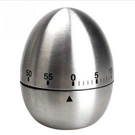 Stainless Steel Egg Shaped Mechanical Rotating Alarm with 60 Minutes for Cooking