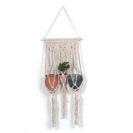 Beige Tassels Bohemianism Style Hand Weaving Tapestry