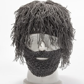 Fun Solid Color Detachable Wool Beard Wig Hat