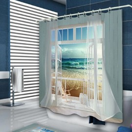 Window Frame Ocean Scene Printing Shower Curtain