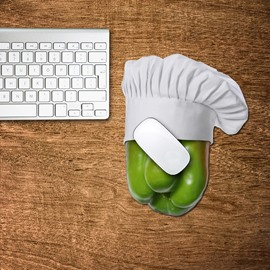 3D Chef Green Pepper Pattern Removable Mouse Pad Desk Stickers