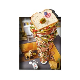 3D Huge Sandwich Dog Pattern Non Slip Rubber Mouse Pad