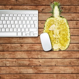 3D Pineapple Summer Pattern Removable Mouse Pad Desk Stickers