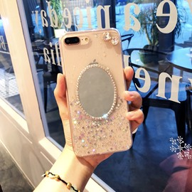 Self-contained Mirror Transparent Epoxy Sequin Phone Case