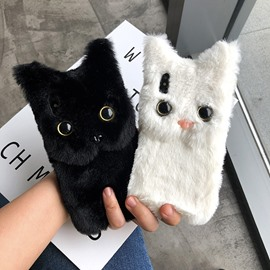 Good Feel Cute Plush Realistic Cat Phone Case
