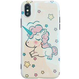 Fantasy Cute Eyes Closed Unicorn Stars Phone Case