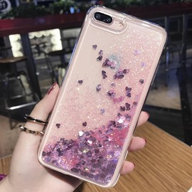 Pretty Heart Shape Paillette Gold Liquid Glitter iPhone Case