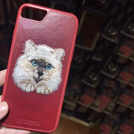 3D Cat Embroidery Pattern Leather Phone Protective Case Cover