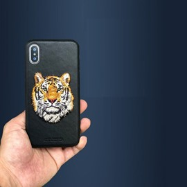 Hand Embroidery 3D Tiger Pattern Leather Protective Phone Case Cover