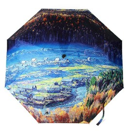 Best Selling Beautiful 3D Three-Dimensional Forest Pattern Sun Protection Umbrella