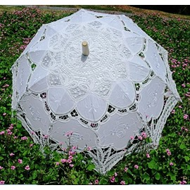 Elegant European Style lacework Wood Hand Shank  Beach Umbrella