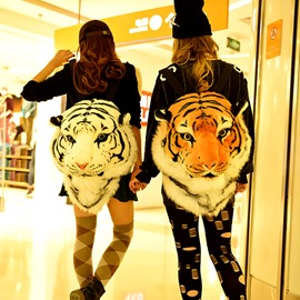 Creative Vivid Tiger Lion Design Velvet Zipper Backpack