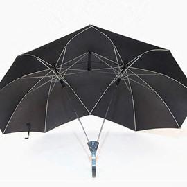 Novelty Automatic Open Two Person Umbrella Parasol Lover Couples Umbrella Two Head Double Rod Outdoor Umbrella