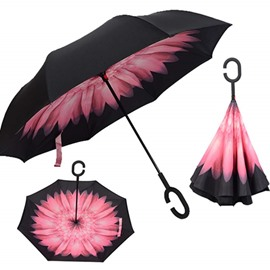 Fabulous Flower Pattern Double Layer Windproof Reverse Folding Reversible Umbrella