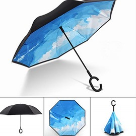 Vivid Sky Pattern Double Layer Windproof Reverse Umbrella