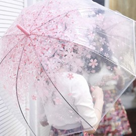Romantic Floral Pattern Transparent Personal Umbrella
