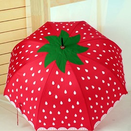 Lovely Strawberry Pattern Red Personal Umbrella