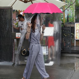 Floral Painted Sun Proof Rainproof Full Body Umbrella for Women