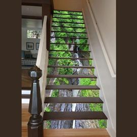Amazing Modern Design Forest Stream Pattern Waterproof 3D Stair Steps Sticker