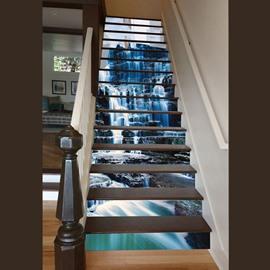 3D Waterfall in Mountain Pattern Waterproof Sturdy Eco-friendly Custom Stair Sticker