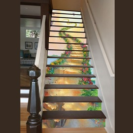Vivid Unique Design Ladder to Heaven Pattern Waterproof Splicing 3D Stair Step Stickers