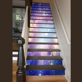 Sunlight and Galaxy Pattern Home Decorative Waterproof Splicing 3D Stair Step Stickers