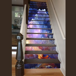 Unique Design Sunlight in Clouds Print Home Decorative Waterproof 3D Stair Step Stickers