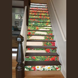 Gorgeous Flowers Stone Path Pattern Home Decorative 3D Stair Step Stickers