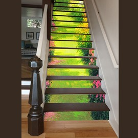 Natural Country Style Garden Scenery Decorative Waterproof 3D Stair Step Stickers