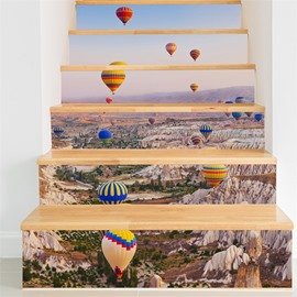 Parachutes and Mountains 6-Piece 3D PVC Waterproof Stair Mural