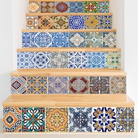 Mexican Traditional Talavera 6-Piece 3D PVC Waterproof Stair Murals