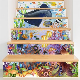 Fishes and Plants under The Sea 6-Piece 3D PVC Waterproof Stair Mural
