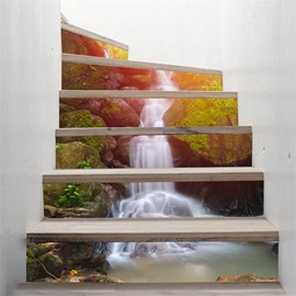 Waterfall Prints Home Decorative 6-Piece 3D PVC Waterproof Stair Mural