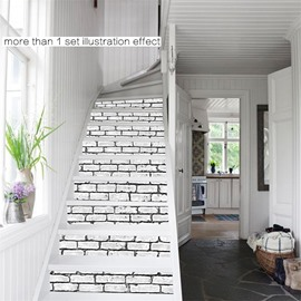 White Bricks Pattern 6-Piece 3D PVC Waterproof Stair Mural