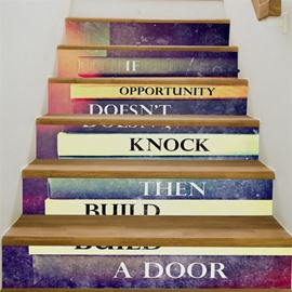 Inspiration Words Home Decorative 6-Piece 3D PVC Waterproof Stair Mural