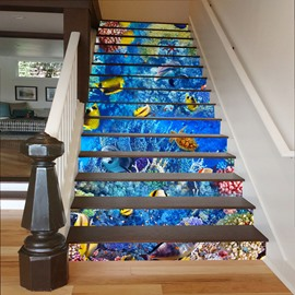 Blue Sea Containing Fishes and Dolphins 3D Waterproof Stair Murals