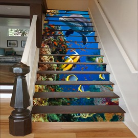 Fishes Dolphins and Plants in Deep Sea 3D Waterproof Stair Murals