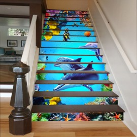 Fishes Plants and Dolphins in Deep Sea 3D Waterproof Stair Murals