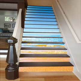 Blue Sea and Beach 3D Waterproof Stair Murals