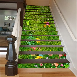 Green Grassland 3D Waterproof DIY Stair Murals