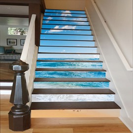 Blue Sea and Sky 3D Waterproof DIY Stair Murals
