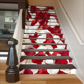 White and Red Rose Petals 3D Waterproof Stair Murals