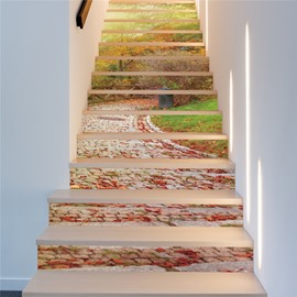 Path in Park Surrounded by Plants 13-Piece PVC 3D Waterproof Stair Murals