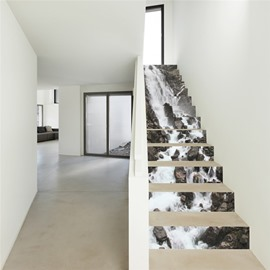 Waterfall and Stones 13-Piece PVC 3D Waterproof Stair Murals